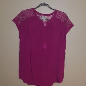 Fuchsia lace top blouse